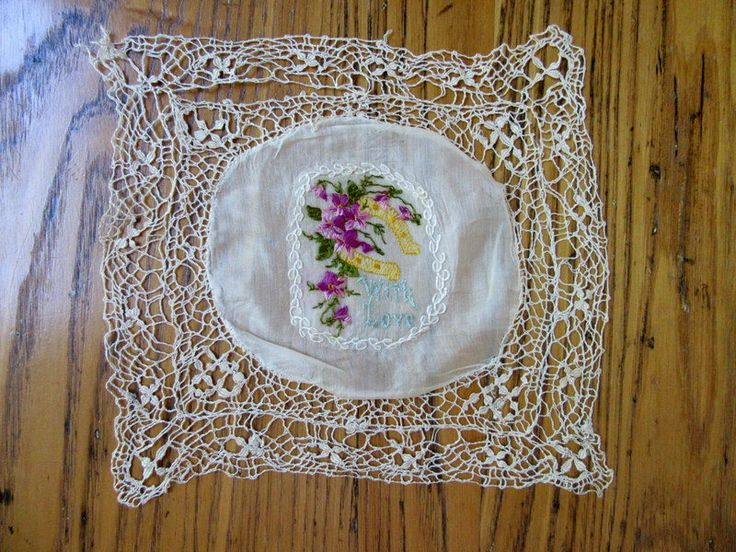 WW1 Military Hankie, With Love, Embroidered Violets and Lucky Horseshoe,  WWI Memorabilia, Handmade Lace Edge, Military Memorabilia by BeautifulPurpose on Etsy