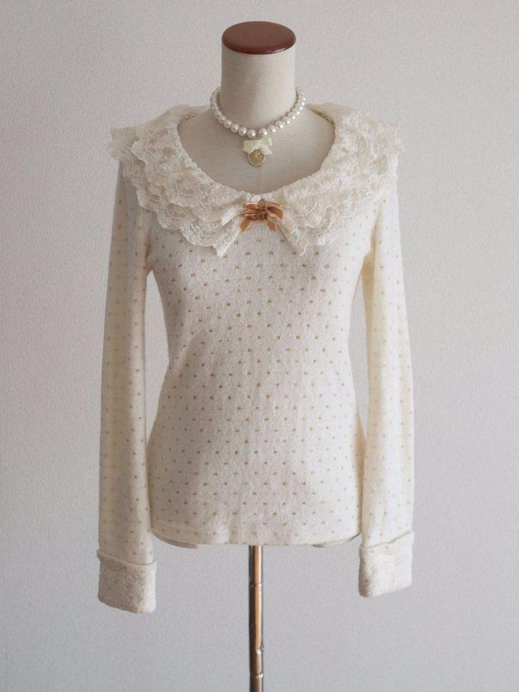 LIZ LISABow Sweater Dress Japan Size M Layered Lace Romantic Lolita Hime Gal #LizLisa #Collared #Shibuya109fashion