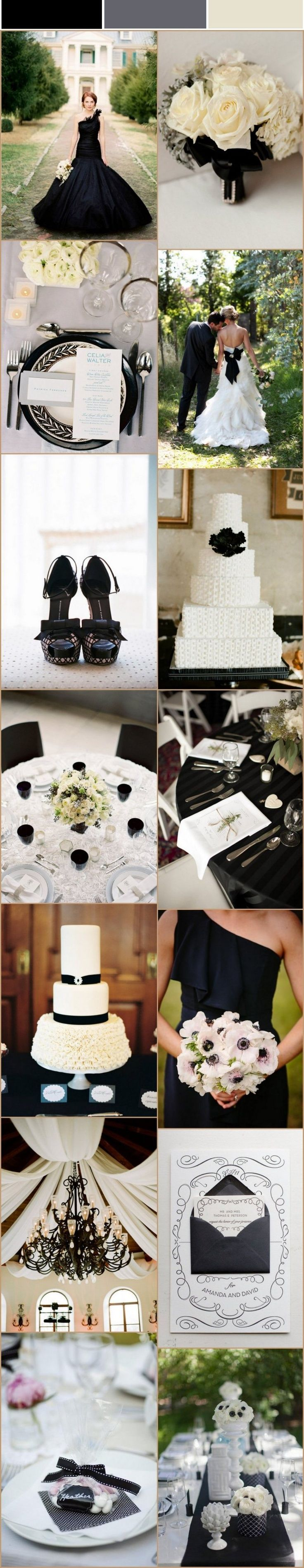 Décoration de mariage noire et blanche…