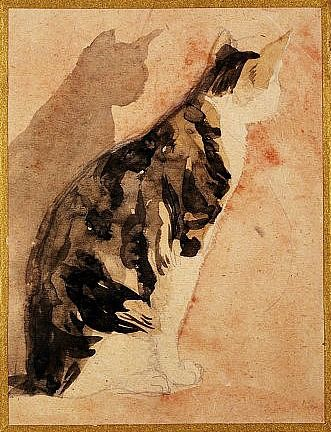 Gwen John: Seated Cat 1920-29. I love Gwen Johns' simple, tender, closely observed watercolours of cats. There's nothing showy or virtuosic about them (indeed, about any of her work - that is its charm)... They are just warm, living, breathing cats.