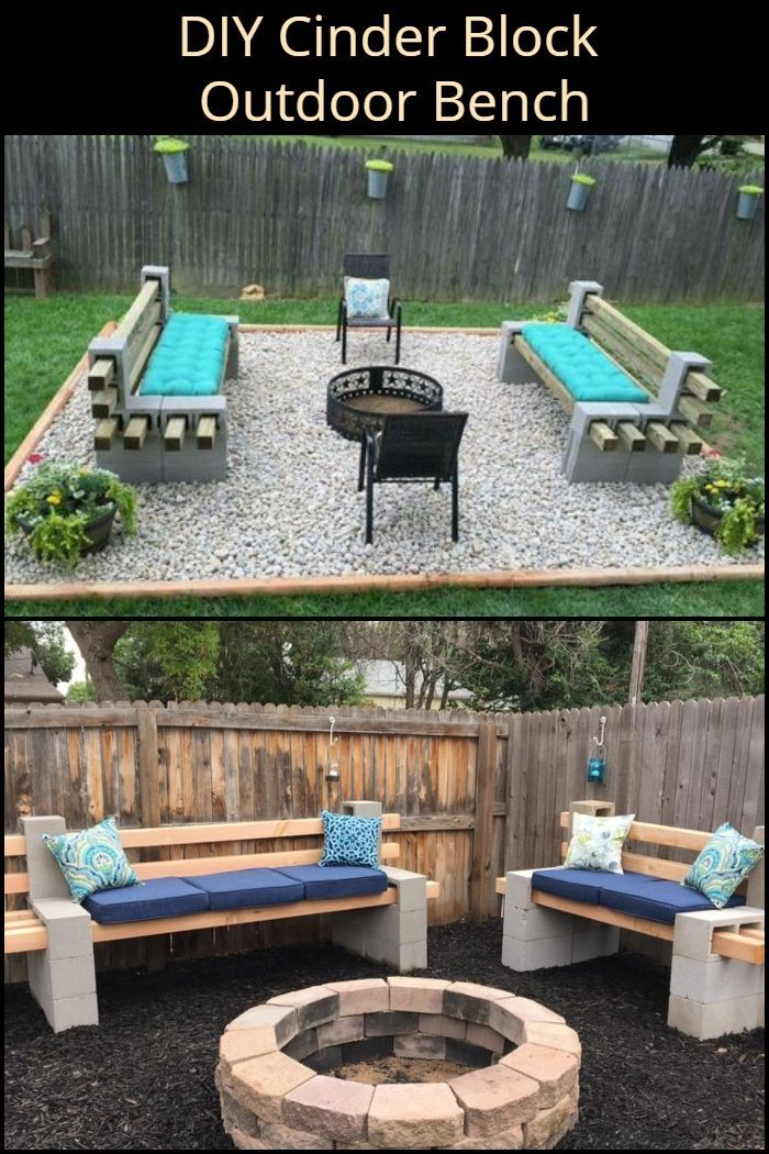 DIY Cinder Block Outside Bench