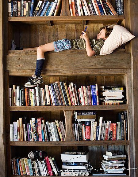 reading nook in the bookshelf