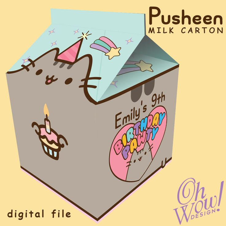 Pusheen Theme Spilt Milk Carton Favor By Ohwowdesign On