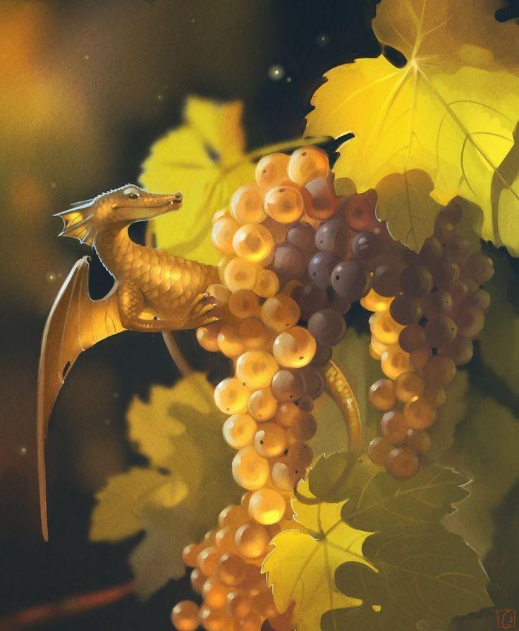 """Eclosion, les fruits gonflés du soleil d'été sont mûrs comme jamais.  Fruit Dragons, les créatures """"fantasy"""" de GaudiBuendia : grape"""