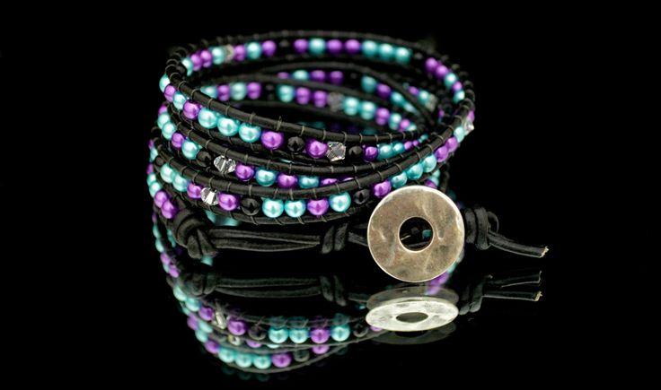 Purple, Teal, Black & Crystal Leather Wrap Bracelet w/ Button Clasp by DizzleDesigns on Etsy