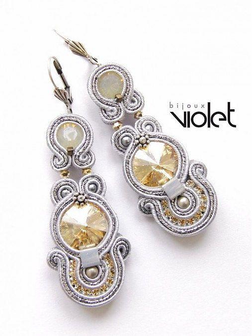 Soutache+Earrings+Golden+Silver+by+Violetbijoux+on+Etsy