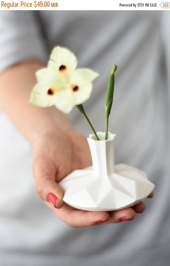 Judaica Gift, White Ceramic Small Vase, Vase And Spinning Top   Two In One  Chanukah Gift ,modern Gift, Handmade In Israel