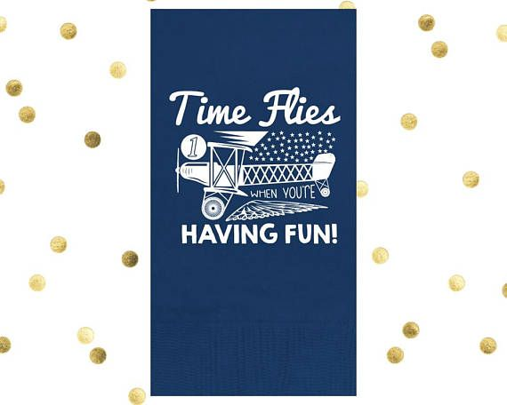 """Party Napkins Airplane Napkin Time Flies Retirement Birthday Kid Birthday Guest Towel Custom Napkin Guest Towels 4.25"""" x 8.0 1761 by SipHipHooray"""