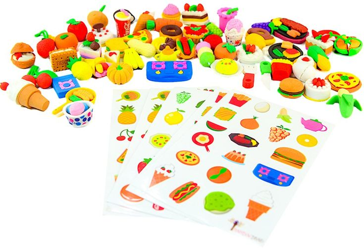 """Deluxe Mega 60 Set of """"In the Kitchen"""" Mini Fun Realistic Japanese Style Desert & Savory Food Eraser Toy - Best Bulk Party Favors Ideas w/ 120 Bonus Stickers For Kids, School, Valentines"""