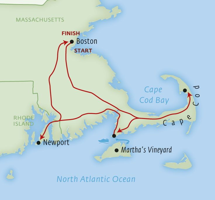 Map For Southern New England 8-day Luxury Fly-drive