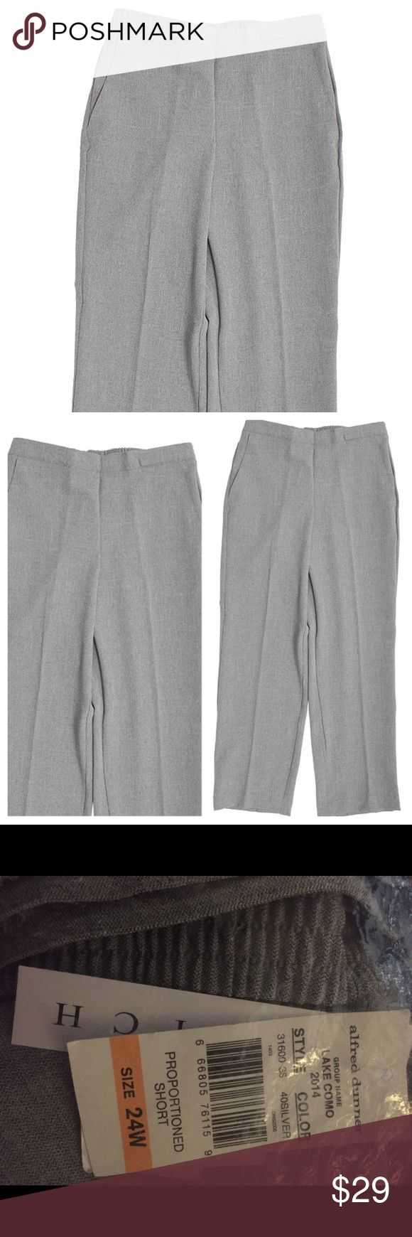 ALFRED DUNNER ELASTIC LAKE COMO SILVER PANTS 24W ALFRED DUNNER ELASTIC WAIST LAKE COMO SILVER PANTS SZ  24W.  These are Proportioned Short Length. Made of 96% Polyester/4% Spandex Elastic closure Not lined Flat front Elastic waist 052517–1 Alfred Dunner Pants