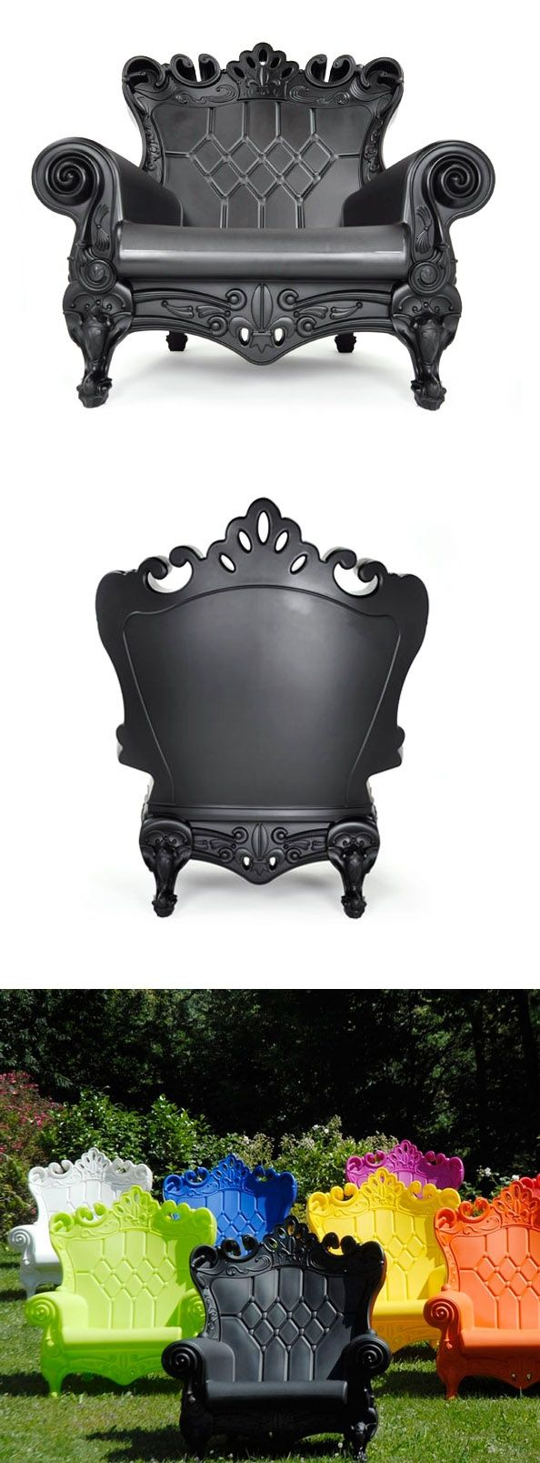 A plastic chair worthy of a garden setting. Baroque Plastic Chair - from FAB