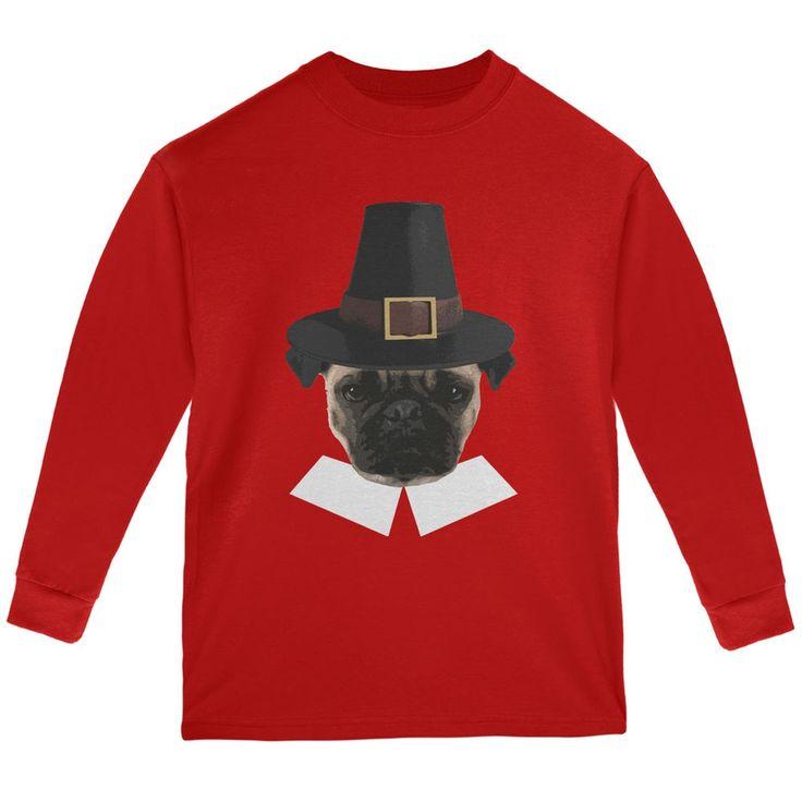 Thanksgiving Funny Pug Pilgrim Red Youth Long Sleeve T-Shirt