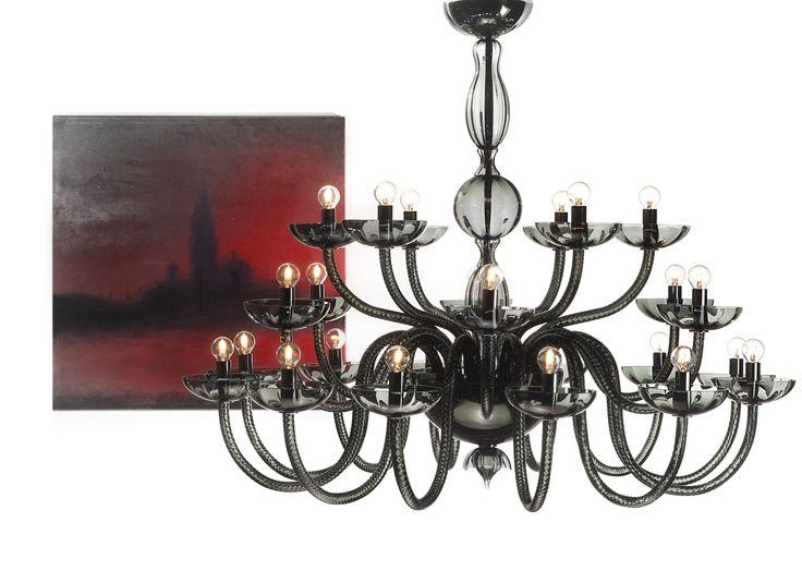 Flabanico Black #yourmurano #muranoglass #chandeliers