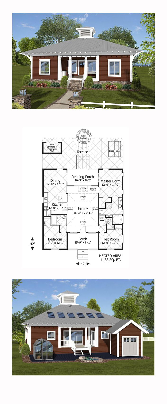 Modern House Plan 74844   Total Living Area: 1488 sq. ft., 3 bedrooms and 2 bathrooms. #modernhome