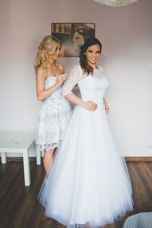 Suknie - Sukienka tiulowa z włoską koronką - 1 000,00zł