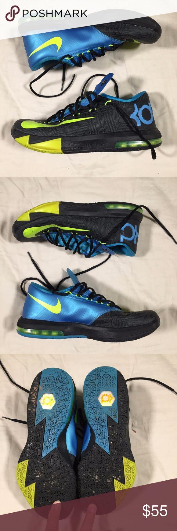 Nike KD VI Black Volt Vivid Blue - 599424 010 8.5 Nike KD VI Black Volt Vivid Blue - 599424 010 - MEN 8.5 Good, pre-owned condition. Please see all pictures Nike Shoes Sneakers