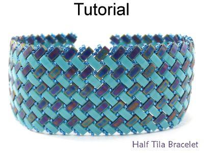 2 Hole Miyuki Half Tila Modified Herringbone Stitch Beaded Bracelet Beading Pattern Tutorial | Simple Bead Patterns