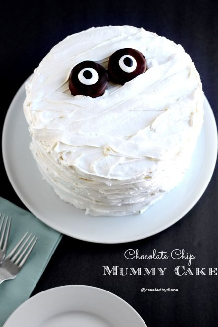 Take a tasty chocolate chip cake one step further with layered frosting to create this cool mummy effect.  Get the recipe at Created by Diane.