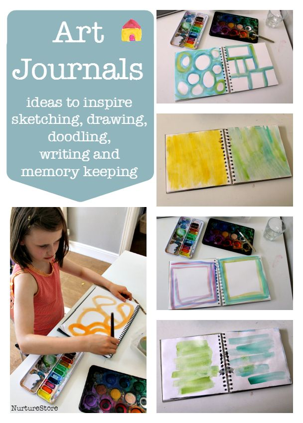 Great ideas for art journaling with children :: art journal layouts :: scrap book project