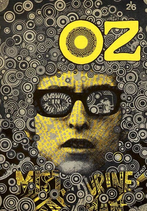 OZ magazine cover Blowing in the Mind: Bob Dylan, Mr. Tambourine Man by Martin Sharp, October 1967