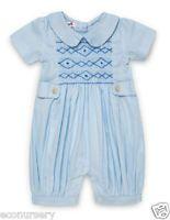 "AURORA ROYAL BABY BOYS BLUE HAND SMOCKED PURE COTTON ""SASHA"" ROMPER"