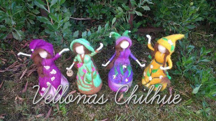Hadas del bosque, muñecas en vellon agujado, hecha por VELLONAS CHILHUE