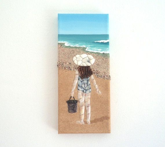 Acrylic Painting Beach Artwork with Seashells and Sand Girl on the Beach, Mosaic Collage, Seashell Collage, Art Collage, Home Decor, Wall Decor,  3D Collage #ArtworkwithSeashells #mosaiccollage #seashellmosaic #homedecor #walldecor #3D