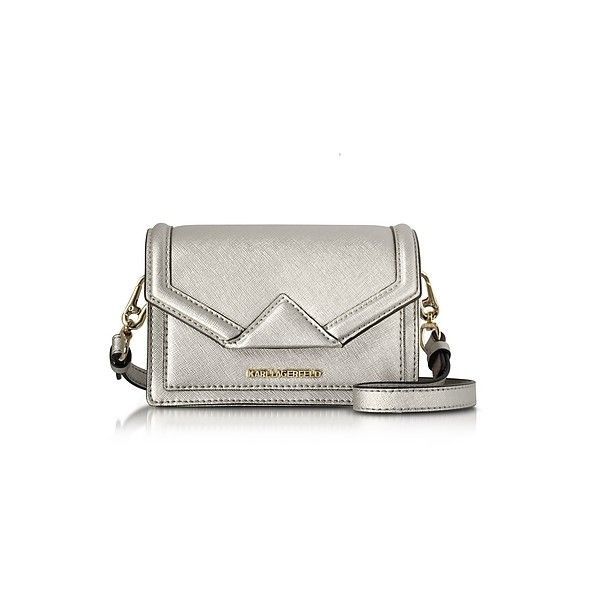 Karl Lagerfeld Handbags Silver Saffiano Leather K/Klassik Super Mini... ($145) ❤ liked on Polyvore featuring bags, handbags, shoulder bags, silver, mini crossbody purse, white shoulder handbags, mini shoulder bag, hand bags and shoulder handbags
