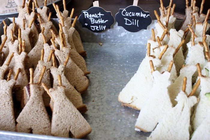 Teepee sandwiches from 1st Birthday Pow Wow at Kara's Party Ideas. See all the on point details at karaspartyideas.com!
