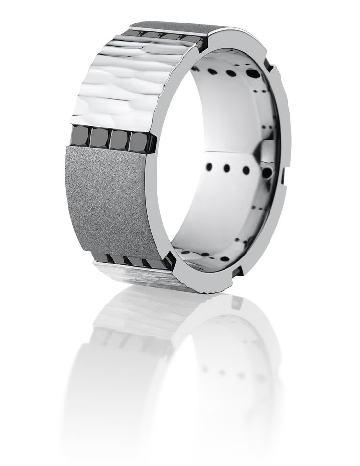 Men's cobalt chrome, black diamond segment ring