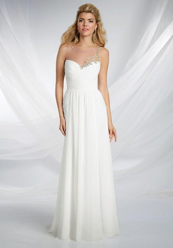 This bridesmaid gown is a vision of draped chiffon with an asymmetric lace motif and illusion yoke neckline | Disney Royal Maidens by Alfred Angelo | https://www.theknot.com/fashion/526-disneys-royal-maidens-dresses-by-alfred-angelo-bridesmaid-dress