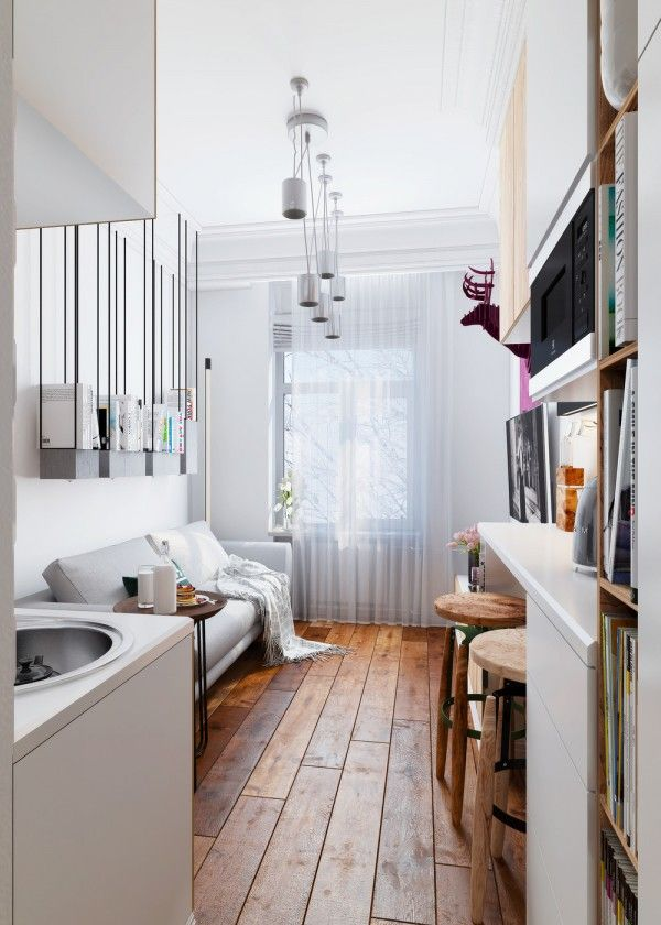 Tiny apartment at just 15 square meters (161 square feet) which is tiny, even compared to other micro apartments. I like that it doesn't have high ceilings, which is realistic. Can use for layout. Check link for nice bathroom design.:
