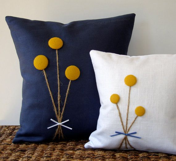 RESERVED - Yellow Billy Ball Flower Pillow in Navy Blue Linen by JillianReneDecor Billy Button Craspedia Bouquet Botanical Home Decor via Etsy