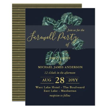 FAREWELL Party Tropical Invitation Navy Blue Gold - modern gifts cyo gift ideas personalize