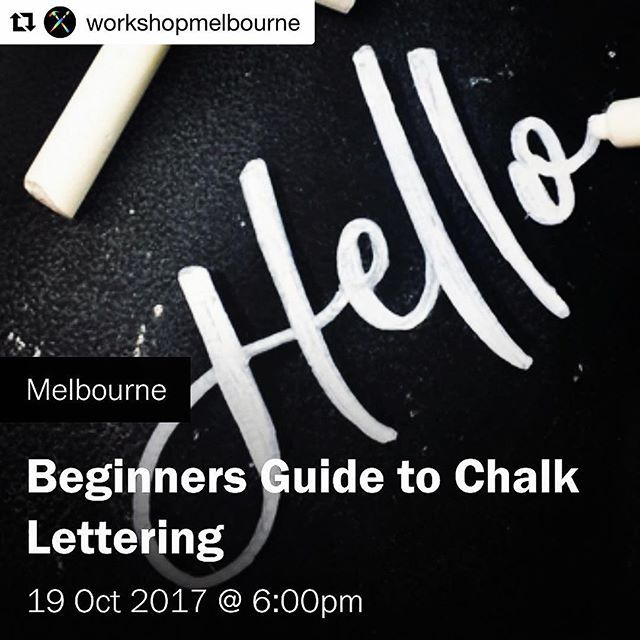 WORKSHOP TIME! First workshop back since being overseas and first chalk workshop for Melbourne! Tickets link in bio!  #Repost @workshopmelbourne (@get_repost) ・・・ UPCOMING: BEGINNERS GUIDE TO CHALK LETTERING with @jhdesigns  Thursday October 19, 6:00 pm - 9:00 pm  Tickets $75 - 80  Join Melbourne Lettering Artist and Designer, Jasmine Holmes for a 3 hour workshop exploring this visually appealing, versatile and highly accessible medium.  You'll learn how to prep your chalkboard, tips and…
