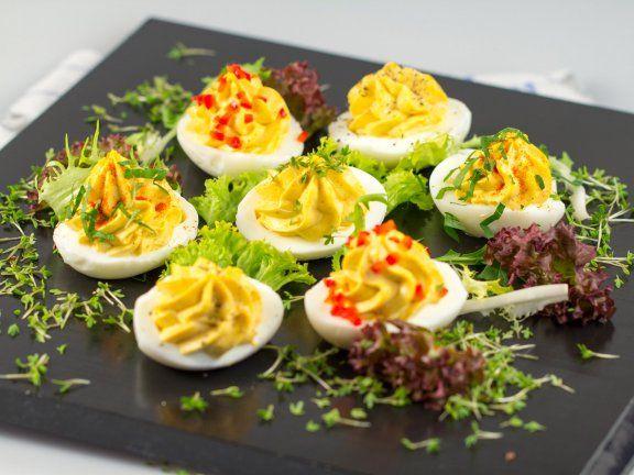 Gefüllte Eier mit Frischkäse | (snacks recipes easy)