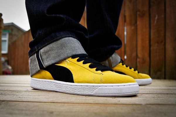 Puma Suede Black/Yellow - Foreverfresh