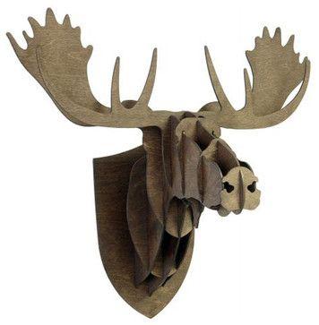 Wood Moose Head eclectic-sculptures