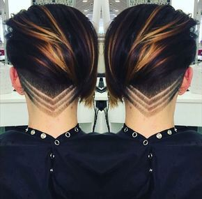 15 Awesome Undercut Ideas for Every Girl - Maroon hair and beautiful pattern undercut