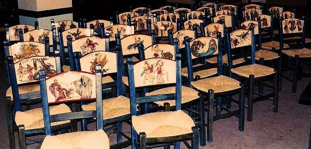 Σαράντα παραστάσεις απο την Ελληνική Μυθολογία ζωγραφισμένες πάνω στις ξύλινες πλάτες των καρεκλών......