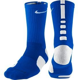 Nike Elite Crew Basketball Socks Price: $14 Color: Royal/White, Black/White, Cool Grey/Punch/Punch, Court Purple/Gold, and White/Red Size: Medium