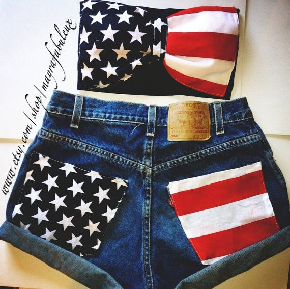 American Flag High Waisted Shorts with matching American Flag Bow Bandeau. Good Independence Day outfit