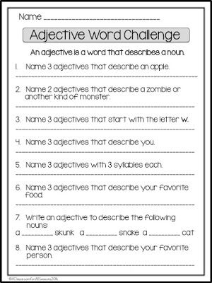 Adjective Word Challenge  Add some fun to your Parts of Speech Unit with this Adjective Word Challenge! Depending on the students' levels they can work in pairs or individually. For more of a challenge see who can come up with the most unique answers. Click on the image below for the free download.  a classroom for all seasons adjectives english as a second language English Language Arts fourth grade parts of speech second grade third grade