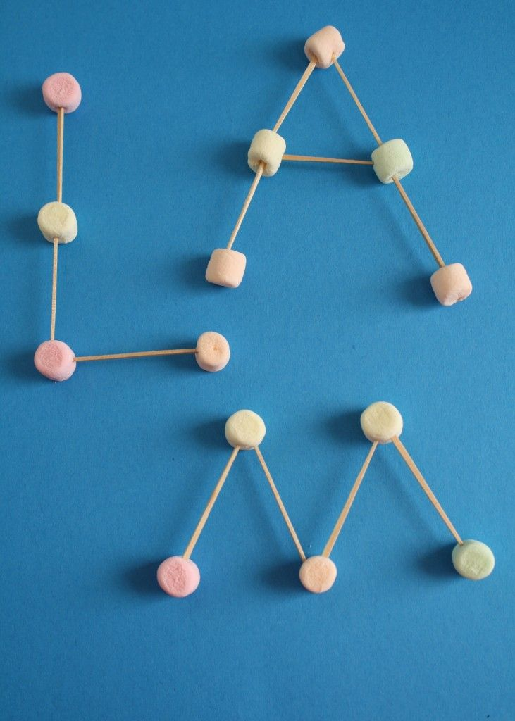 M is for Marshmallows...practice fine motor skills by using toothpicks and marshmallows to build letters, numbers or shapes