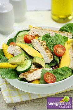 Healthy Dinner Recipes: Warm Mango Chicken Salad. #HealthyRecipes #DietRecipes #WeightLoss #WeightlossRecipes weightloss.com.au