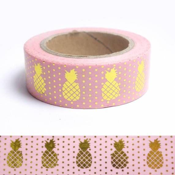 Masking tape ananas dorés sur fond rose
