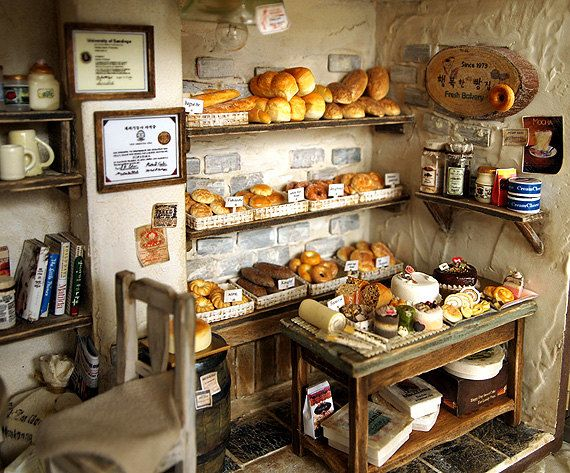 The Bakery -Vintage Country small bread shop-handmade Dollhouse Miniatures. $529.00, via Etsy.