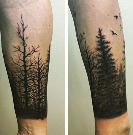 Gentleman With Tree Sleeve Tattoo On Forearm