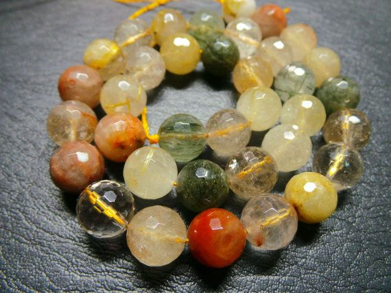 Exquisite Natural Multi Rutail 11 MM Size 15 by StarGemBeads